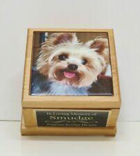 Small Dog Urn Pet Urn with Custom Tile Photo & Engraved Tag Red Alder