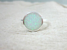 925 STERLING SILVER Bezel ROUND 11mm White Cr.OPAL Women Ring BIG Size I  to X