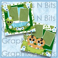 "TWINS 12""x12"" Printed Premade Scrapbook Pages"