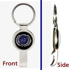 Star Trek Star Fleet Pennant or Keychain silver tone secret bottle opener