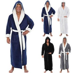 Hommes Peignoir Manteau Capuche Cape Souple Restez Polaire Chaud Habillage Robe