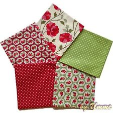 Red, Green Floral Fat Quarter Bundle - 100% Cotton Fabric - Sewing, Quilting