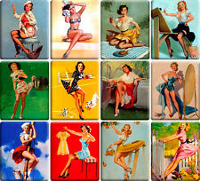 12 souvenir fridge magnets - Vintage Sexy Pin-up Girl - (2.6x 3.2 inch) - set 5