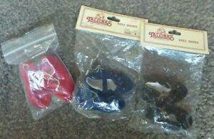 3 PAIRS OF LOVELY 63 mm FAUX SUEDE,RED,BLUE,BROWN DOLLS SHOES