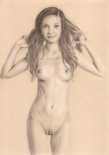 Female Nude ORIGINAL DRAWING Charcoal Pencil fine Art realism naked woman