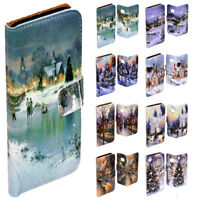For OPPO Series Snow White Christmas Theme Print Wallet Mobile Phone Case Cover