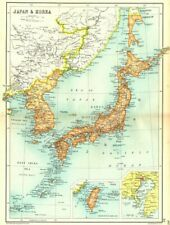 JAPAN & KOREA. Inset maps of Taiwan; Tokyo. Cassells 1909 old antique
