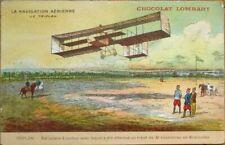 French Aviation 1910 Postcard w/Airplane/Triplane, Chocolate/Chocolat Lombart Ad