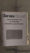 Proton 301 service manual original repair book bi-amp powered speaker