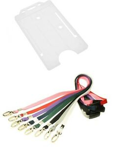 Clear Single Sided Portrait ID Card Holder with Lobster Clip Breakaway Lanyard