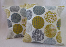 "18"" Cushion Cover Saffron Mustard Yellow Grey Circle Print New Handmade 46cm"