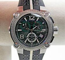 Renato Men's Vulcan Watch, Swiss Ronda 251, Green Dial, SS Case on Rubber Strap