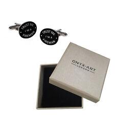 Mens Black Oval 'Trust Me Im A Fireman' Cufflinks & Gift Box - By Onyx Art