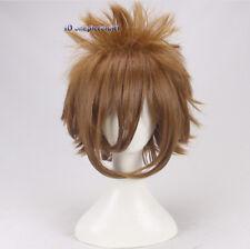 Sora corto marrón Peluca Cosplay Mullido + un casquillo de la peluca