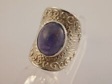 AMETHYST CABOCHON STERLING SILVER RING ARTISAN HANDCRAFTED COMFORT FIT SZ 9.75