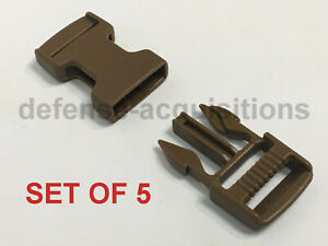 SET OF 5 Side Release Side Squeeze Single Adjust Buckle 3/4 INCH  COYOTE