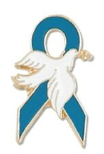 Teal Ribbon White Dove Lapel Pin Ovarian Cancer Awareness Hope Gold Plated New
