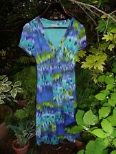 PER UNA SIZE 12R GREEN BLUE TURQUOISE PATTERNED CAP SLEEVE DRESS-FULLY LINED