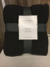 "Threshold King Sweater Knit Blanket 108"" X 92"" 100% Acrylic Hot Coffee Gray"