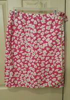TALBOTS Classic Wrap Skirt Pink White Lime Green Floral Womans Size 8