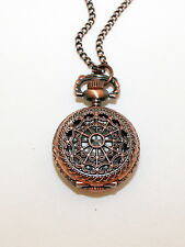 Necklace Watch, Antique Copper Tone Victorian Style Pocket Watch, Steam Punk