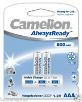 2 x Camelion Always Ready Akku  AAA Micro HR3 800 mAh 1,2V Ni-MH zb. für Telefon