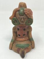 Vintage Handmade Island Tribal Pottery Clay Figure Figurine Flute Music Art OOAK