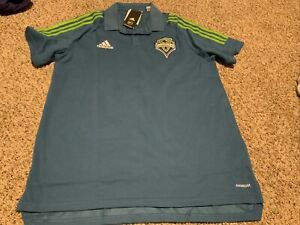 adidas Seattle Sounders FC Mens S/S Polo Shirt Size: Large Blue/Rave Green