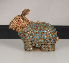 Vintage Turquoise Coral & Brass RABBIT Figurine -Nepal/Tibet