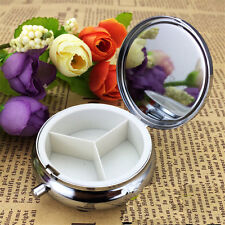 NEW Metal Round Pill Boxes Outdoor Travel Container Medicine Case Pill Case #x