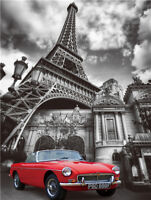 PARIS CANVAS WALL ART EIFFLE TOWER CLASSIC RED CAR RETRO MODERN 60 X 40