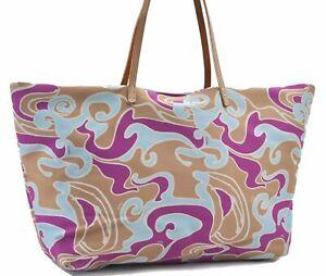 Authentic FENDI Shoulder Tote Bag Nylon Beige Pruple D6961