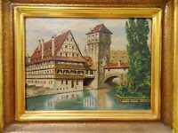 Ölgemälde Bild - Vintage 1937 - Henkersteg Nürnberg - Fachwerkhaus