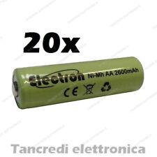 20pz Batteria Stilo AA 2600 mAh mA ricaricabile rechargeable battery Ni-Mh NiMh
