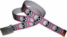 SKULL & CROSSBONES BELT Buckle Cool Pink Punk Rock 80's Neon Hot Topic Emo Skate