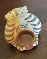 Vintage Cat Candle Holder Ceramic Handpainted Tabby Orange 2 Cats Decor Unique!
