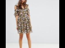 Miss Selfridge Floral Printed Ruffle Dress -Khaki Uk 8