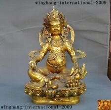 "18""Tibetan Buddhism Bronze Gilt wealth God Yellow Jambhala Mammon Buddha statue"