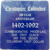 .1992 US COMMEMORATIVE PROOF-LIKE UNC COLUMBUS .999 SILVER HALF DOLLAR.