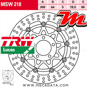 Disque de frein Avant TRW Lucas MSW 218 Suzuki RG 125 Gamma (NF13) 1993+
