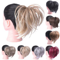 Synthetic Tousled Hair Scrunchy Straight Elastic Bun Wrap For Ponytail Extension