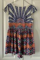 Ladies size 10 AVA coloured patterned cap Sleeve PLAYSUIT jumpsuit with pockets