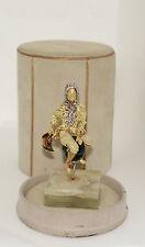 Retro 18k Solid Gold Diamond Enameled Performer Motif Brooch W Box fine Jewelry