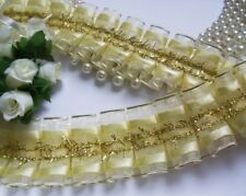 "1.5"" Ivory / Metallic Gold Ruffle Box Pleated Sheer Organza Ribbon-1 Yard-T511T"