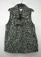 Jolt Womens Gray Leopard Print Vest Full Zip Pockets Notch Lapels Snap Stays 1X