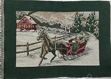 """Tapestry Panel Home Decor Christmas Sleigh Riding With Horse 18"""" x 13"""" New"""
