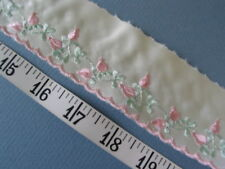 """A2106 TRIM Embroidered Woven Yellowish Ivory Satin Pink  2"""" W 10 Yds UNIQUE"""