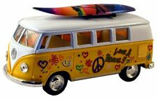 Modellauto 1:32 Volkswagen VW T1 Bus Hippi gelb mit Surfbrett