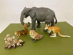 Schleich - Mixed Animals Lot #5 - Elephant, Owl, Meerkat - Toy Figure / Figurine