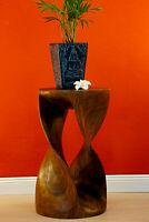 Beistelltisch Holz Hocker Blumenhocker Massivholz Wohnzimmer Tisch rund braun